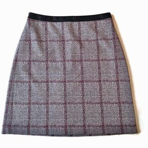 NWT Ann Taylor Cranberry Plaid Skirt Faux Leather